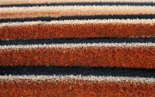 Corrugated Iron With Frost Stock Image
