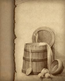 Free Pencil Drawing Of Wood Bucket Stock Photos - 16305113