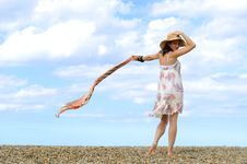 Free Young Woman On The Beach. Royalty Free Stock Photos - 16305628