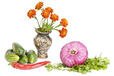Free Vegetables And Marigold Flower Royalty Free Stock Images - 16306149