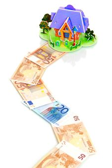 Free House With Keys Over Euro Money Way Royalty Free Stock Image - 16306296