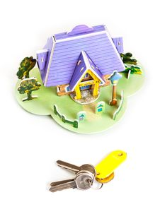 Free House With Keys Isolated On White Royalty Free Stock Image - 16306336