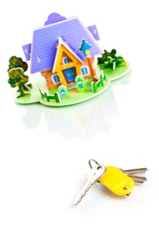 Free House With Keys Isolated On White Stock Photography - 16306702