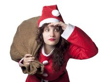 Free Santa Woman Searching Royalty Free Stock Image - 16307936