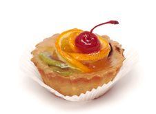 Fruit Cupcake With Cherry Stock Images