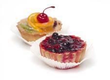 Fruit Cupcake With Cherry Stock Photo
