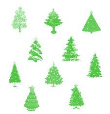 Free Set Of Christmas Trees Royalty Free Stock Photos - 16308728