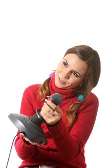 Girl With A Joystick Stock Photo