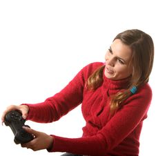 Free Girl With A Gamepad Royalty Free Stock Photos - 16310468