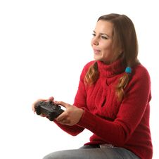 Girl With A Gamepad Stock Photo