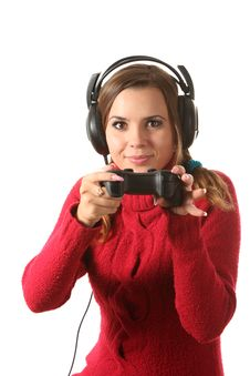 Free Girl With A Gamepad Royalty Free Stock Image - 16310476
