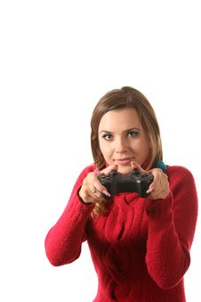 Girl With A Gamepad Royalty Free Stock Images