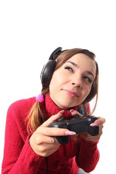 Free Girl With A Gamepad Stock Image - 16310481