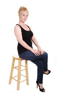 Blond Girl In Jeans. Royalty Free Stock Images
