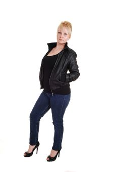 Blond Girl In Leather Jacket. Royalty Free Stock Image