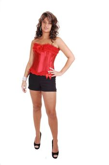 Free Pretty Girl In Red Corset. Stock Photos - 16310553
