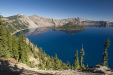 Wizard Island At Crater Lake Volcano In Oregon Stock Images