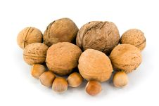 Wallnut And Hazelnut Royalty Free Stock Photography