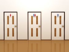 Free Three Doors With Signs For Male, Female And Total Stock Image - 16313971
