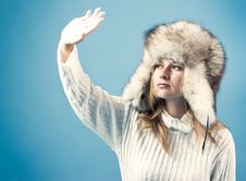 Free Portrait Of Attractive Woman In Winter Style Stock Images - 16314064