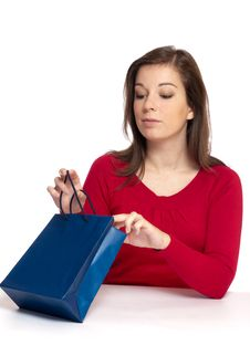 Women With Gift Stock Photo
