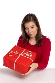 Women Giving Red Gift Royalty Free Stock Photography