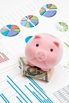 Free Piggy Bank And Charts Royalty Free Stock Photos - 16315388