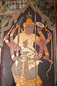 Art Thai Painting On Wall In Temple Stock Photos