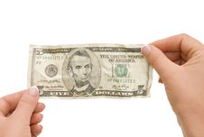 Free The Crumpled Banknote In A Hand Stock Photo - 16317430