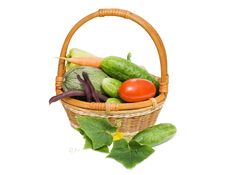 Wattled Basket With Vegetables Stock Photo