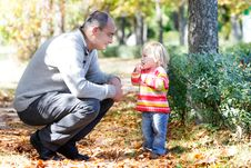 Free Father And Daughter On Autumn Park Backgro Stock Photography - 16317632