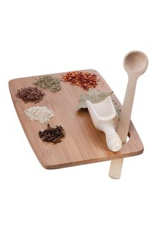 Kitchen Board With Spices Stock Photo