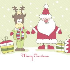 Santa, Reindeer And Gift. Vector Illustration Stock Image