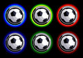 Free Set Of Soccer Buttons On Black Background Royalty Free Stock Images - 16328809