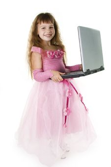 Free Girl Princess And Notebook. Royalty Free Stock Photography - 16321057