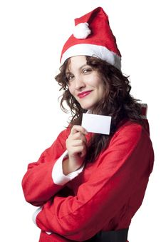 Free Santa Woman With Blank Ticket Royalty Free Stock Photos - 16321158