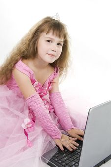 Free Girl Princess And Notebook. Royalty Free Stock Images - 16321209