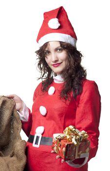 Free Santa Woman With Present Stock Photo - 16321280
