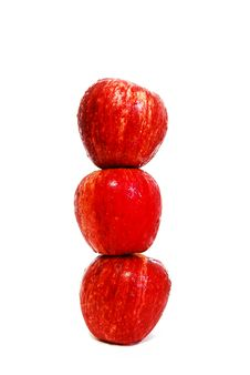 Three Of Red Apples Isolated Royalty Free Stock Photo