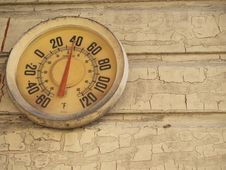 Temperature Gauge On A Wall With Peeling Paint Stock Images