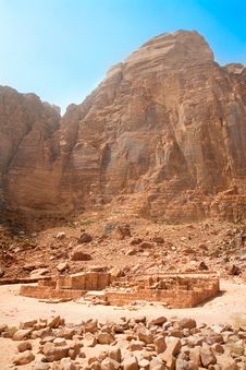 Nabatean Temple Near Rum Village, Jordan Stock Images