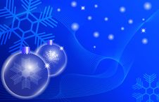 Free Two Blue Christmas Ball On A Blue Background Stock Images - 16323354