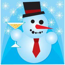 Free Celebrating Snowman Stock Images - 16323894