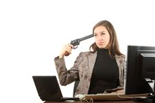 Businesswoman Want Shoot Oneself Royalty Free Stock Images