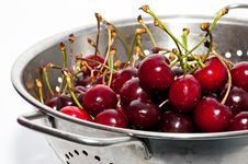 Free Red Cherries On The Colander Royalty Free Stock Images - 16325879