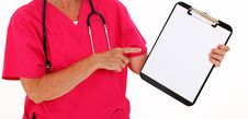 Free Physician Pointing At Clipboard Stock Photos - 16326393