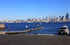 Free Boat Ramp And Skyline, Seattle Washington. Royalty Free Stock Photography - 16326567