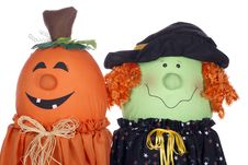 Free Halloween Pumpkin And Witch Characters Royalty Free Stock Photography - 16326807