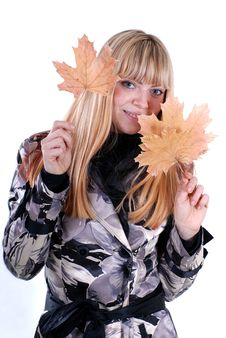 Free Cute Blond With Leaf Stock Images - 16331094