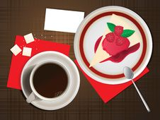 Free Coffee And Cheesecake. Royalty Free Stock Photo - 16331345